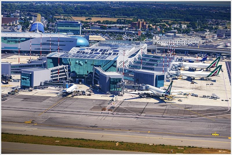 Fiumicino Airport. Fiumicino is a small town on the seaside, and it serves as a military port