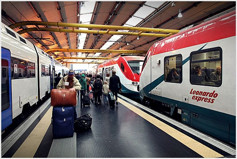 Rome Fiumicino Airport. The Rome-Fiumicino Leonardo Express non-stop train takes travelers to Stazione Termini in half an hour