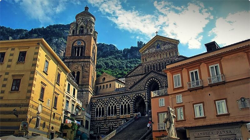 A melange of architectural styles, Amalfi's cathedral, one of the few relics of the town's past as an 11th-century maritime superpower, makes a striking impression at the top of its sweeping flight of stairs.