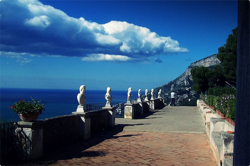 Ravello. Terrace of the Infinite. Ravello, situated above the Amalfi Coast is a lovely town that's home to several tourist attractions, with Villa Rufolo at the very top of the list.