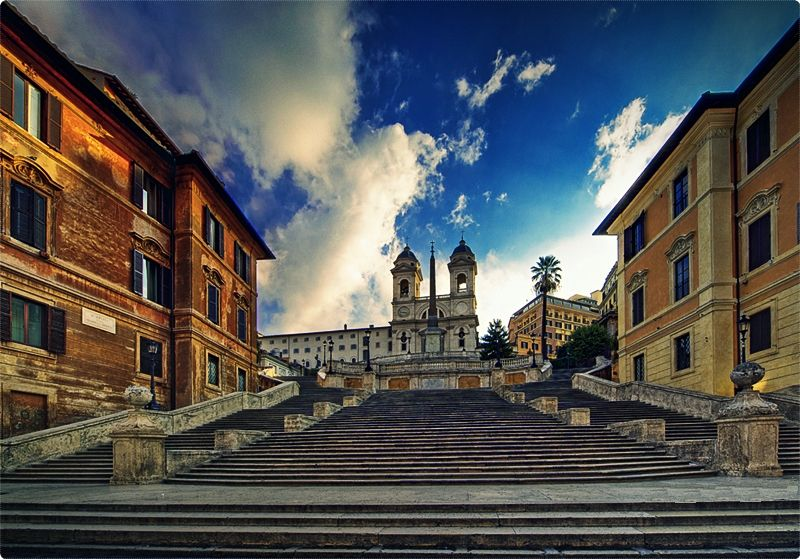 Built in the 1700s the Spanish Steps climb from the Piazza di Spagna up to the Trinita dei Monti church at the top. From here you can get great views across Rome.